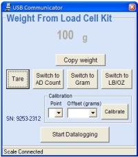 25lb Load Cell Kit PC Program Data Logging Display