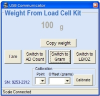 25lb Load Cell Kit PC Program Gram display