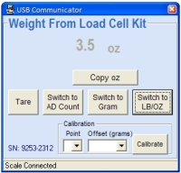 15kg Load Cell Kit PC Program LB-OZ display