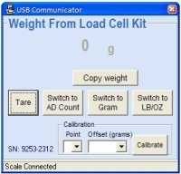 25lb Load Cell Kit PC Program Tare display