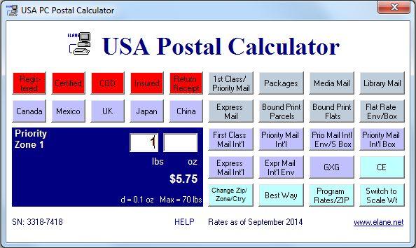 Usa postal calculator software.
